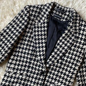 Vintage Wool Blazer Houndstooth Designer